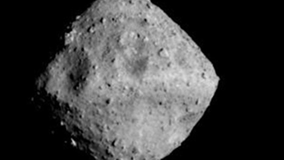 Asteroid Ryugu, photographed by Japan's Hayabusa2 spacecraft on June 23, 2018, from a distance of 25 miles (40 kilometers).