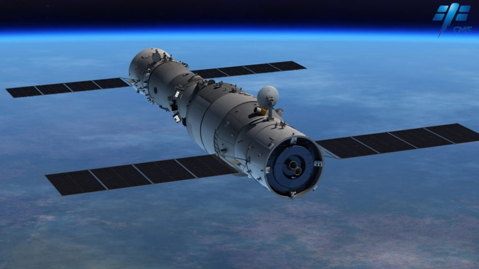 Artist's illustration of a Shenzhou spacecraft (left) docked with a Tiangong space lab (right).