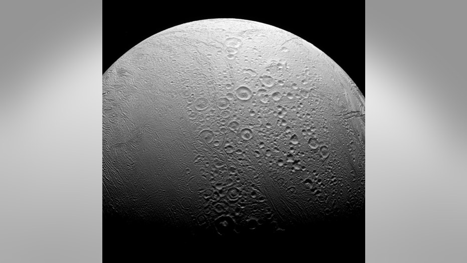 File photo: Saturn's ocean-bearing moon Enceladus taken in visible light with the Cassini spacecraft narrow-angle camera on Nov. 27, 2016. NASA/JPL-Caltech/Space Science Institute/Handout