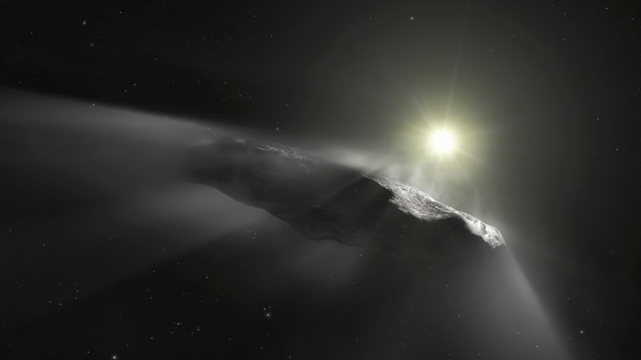 An artist's illustration of the interstellar object 'Oumuamua, which appears to be outgassing material. Scientists now suspect it is a comet after all, and not an asteroid.