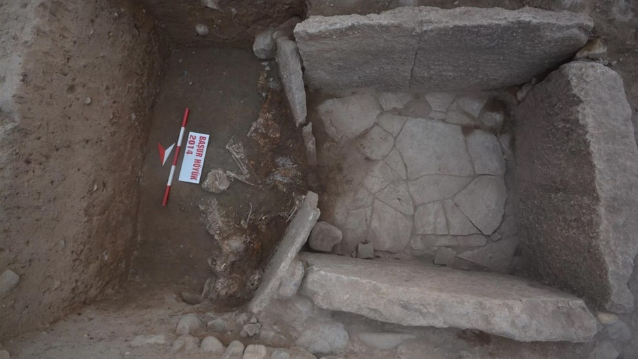 Eight human sacrifices were found at the entrance to this tomb, which held the remains of two 12-year-olds from ancient Mesopotamia. Credit: Photograph by permission of the Ba ̧sur Höyük Research Project; Antiquity 2018
