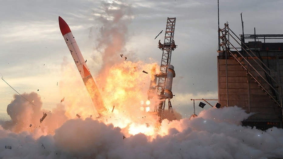 A privately developed rocket burst into flames after the rocket failed to liftoff on Hokkaido, Japan, Saturday,