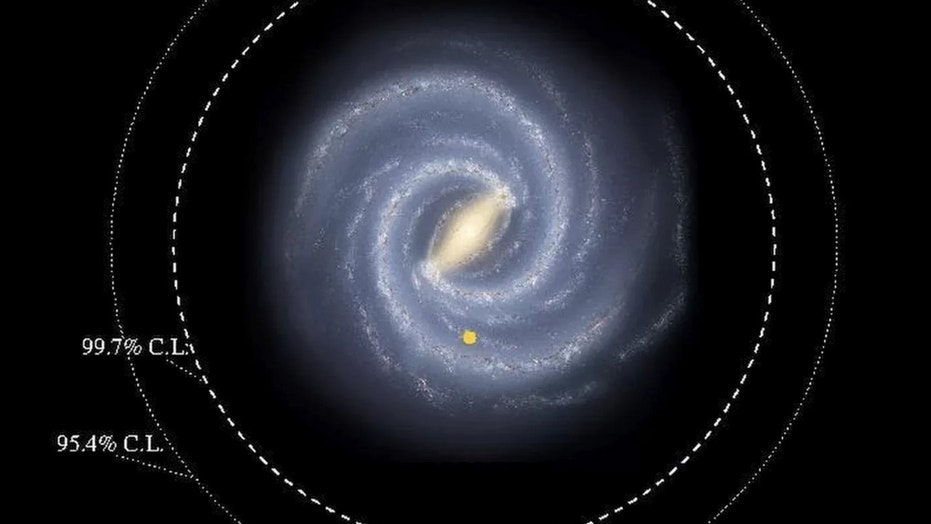 The Milky Way's starry disk is bigger than previously thought, a new study reports. It extends to at least the inner dotted circle in this illustration, and may reach even farther out. Credit: R. Hurt, SSC-Caltech, NASA/JPL-Caltech