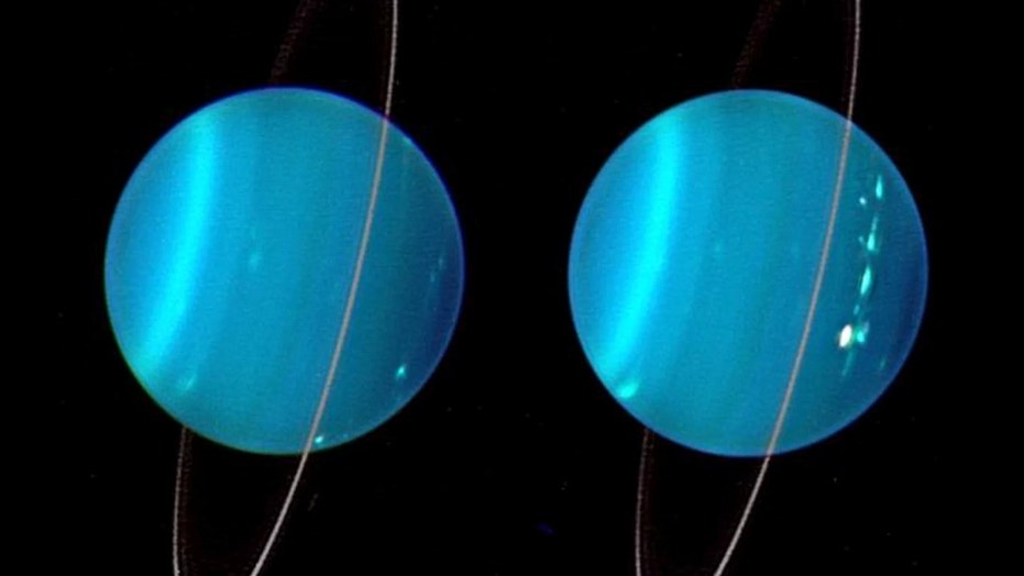 This composite image, created in 2004 with Keck Observatory telescope adaptive optics, shows Uranus' two hemispheres. Credit: Lawrence Sromovsky, University of Wisconsin-Madison/W.W. Keck Observatory