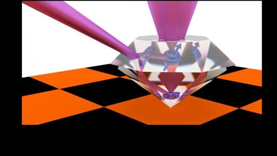 A Princeton-led research team has created diamonds that contain defects capable of storing and transmitting quantum information for use in a future 'quantum internet.' The defects can take and store quantum information in the form of electrons for relatively long periods of time and link it efficiently to photons. Credit: Image courtesy of Paul Stevenson, postdoctoral research associate at Princeton University