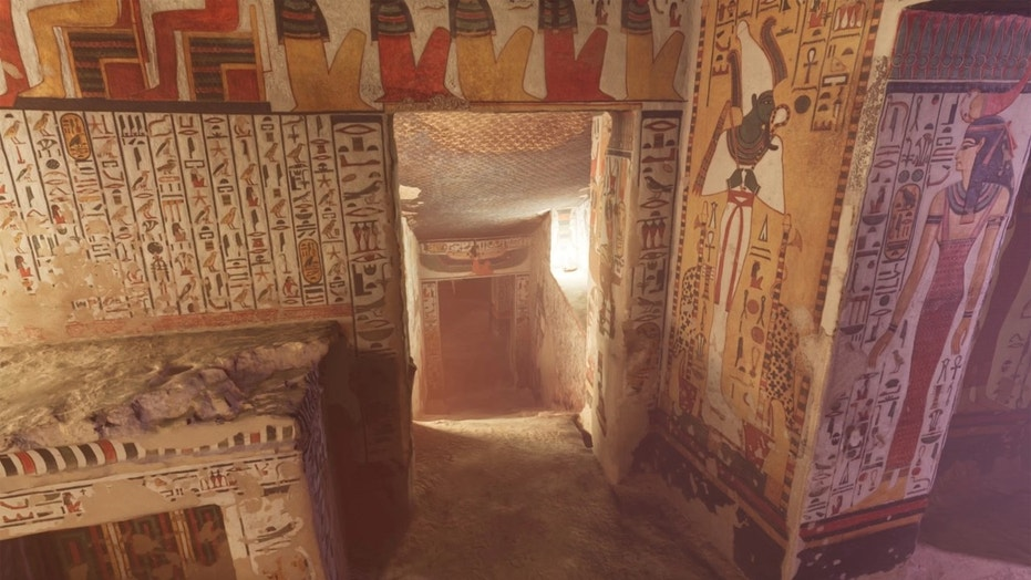 Some of the VR tour of Nefertari's tomb is shown here. Credit: Curiosity Stream