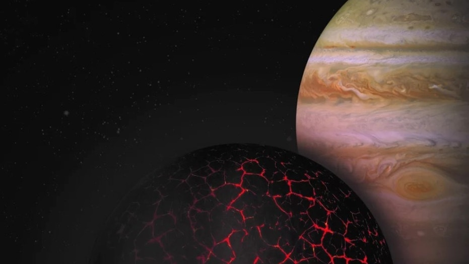 This artist's depiction illustrates the early solidification and formation of the primordial crust on Mars, with Jupiter seen in the background (not to scale, obviously). Credit: Institut de Physique du Globe de Paris