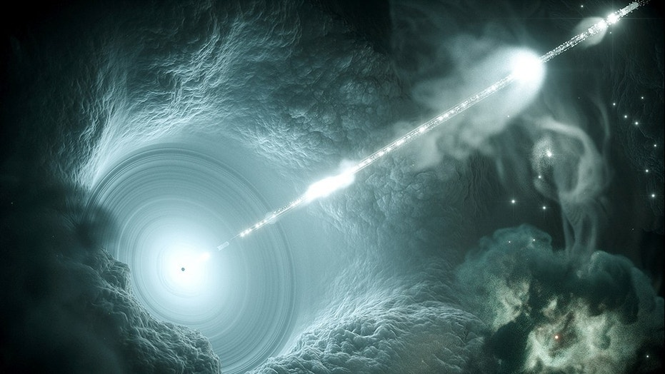Artist's impression of the active galactic nucleus shows the supermassive black hole at the center of the accretion disk sending a narrow high-energy jet of matter into space perpendicular to the disc in this image by Science Communication Lab in Ki