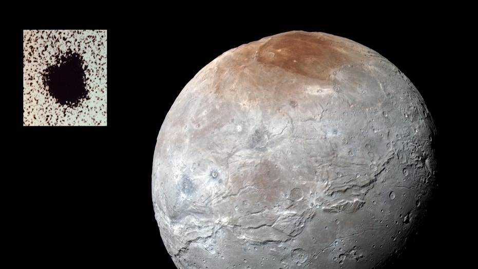 Charon over 40 years: An enhanced-color image of Charon from the New Horizons data shows a range of diverse features, far more detailed than the 1978 inset image with the small bump that signaled the existence of a moon.