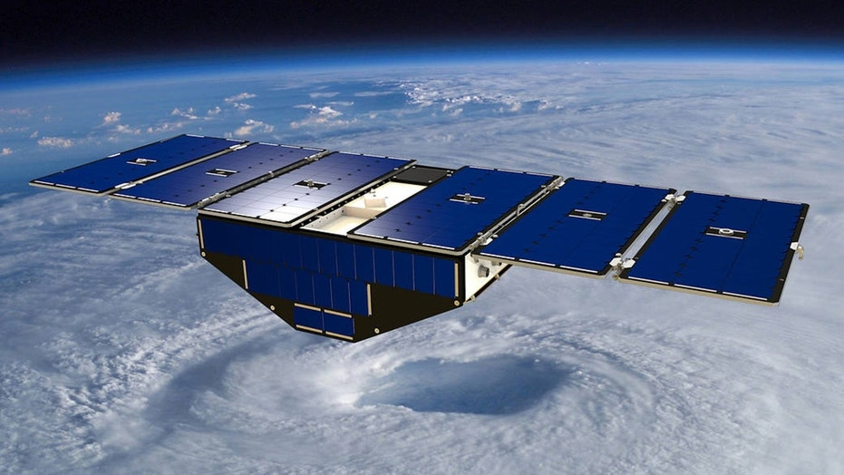 Artist's concept of one of the eight Cyclone Global Navigation Satellite System satellites deployed in space above a hurricane. (Credit: NASA)