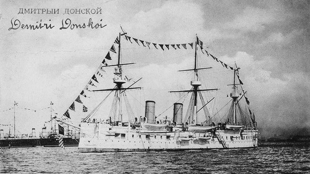 The Dmitrii Donskoi Armoured Cruiser of the Imperial Russian Navy on 3 October 1891 at anchor off Brest, France.  (Photo by Hulton Archive/Getty Images)
