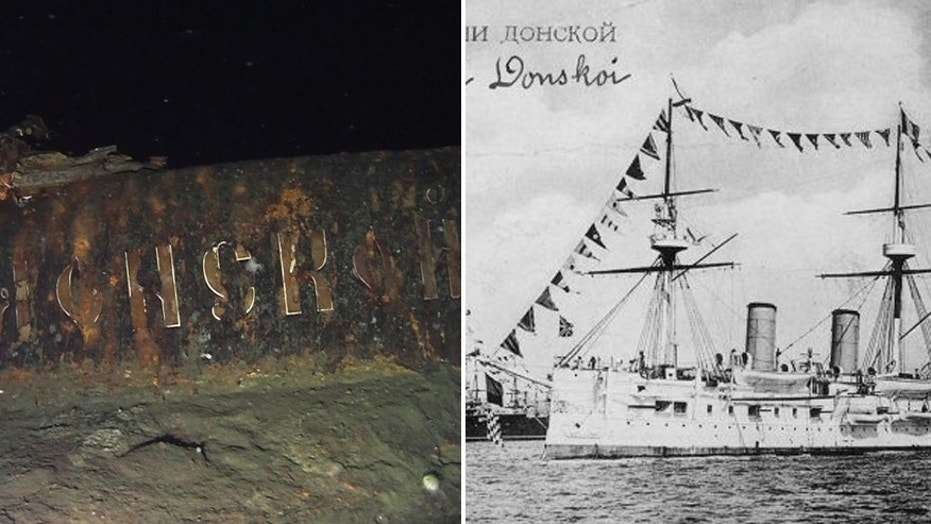The stern of the Dmitry Donskoi and a file photo of the Russian Imperial Navy warship.