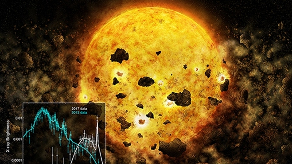 An artistic illustration of the young star RW Aur A devouring planetary debris.