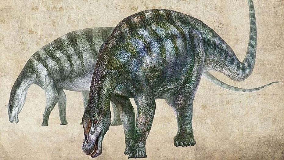 An artist's rendering of Lingwulong shenqi, a newly discovered dinosaur unearthed in northwestern China, appears in this image provided July 24, 2018.
