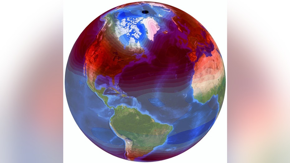 "Seasonal temperature variations and trends are visualized and depicted on NASA's ""Blue Marble"" image. Credit: Lawrence Livermore National Laboratory"