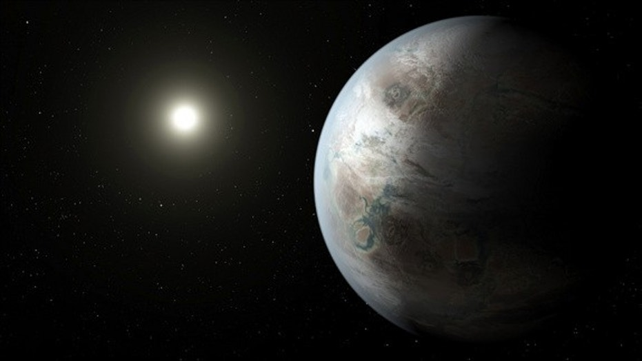 An artist's concept of the alien planet Kepler-452b, the first near-Earth-size alien planet to be discovered in the habitable zone of a sunlike star. NASA unveiled the exoplanet discovery on July 23, 2015.