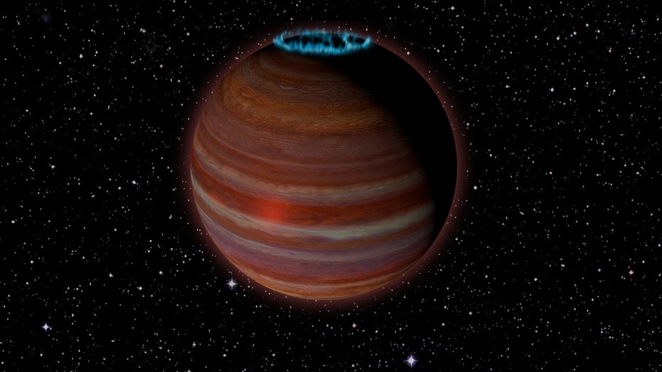 Artist's conception of SIMP J01365663+0933473 an object with 12.7 times the mass of Jupiter but a magnetic field 200 times more powerful than Jupiter's. This object is 20 light-years from Earth. Credit Caltech  Chuck Carter NRAO  AUI  NSF