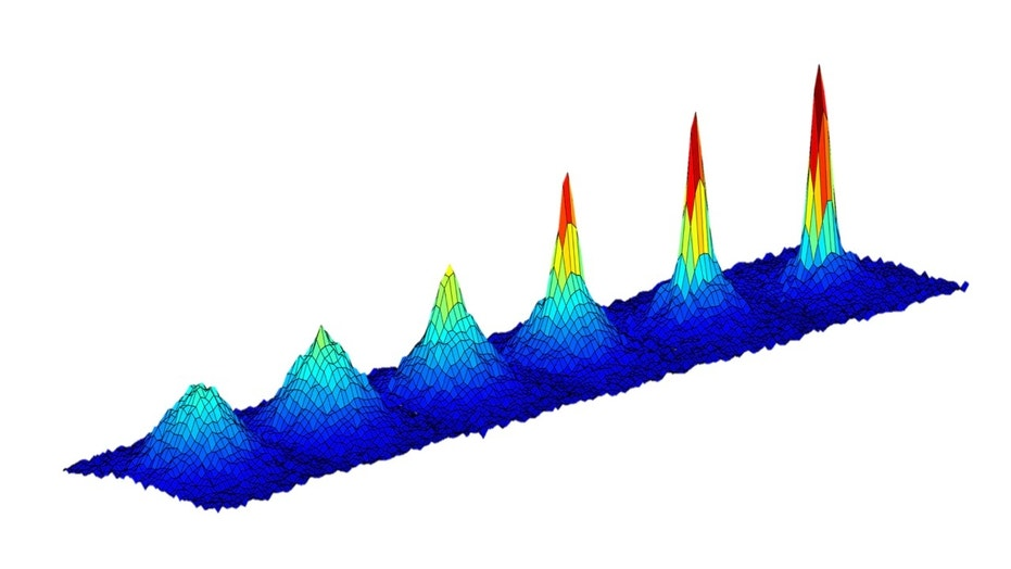 This series of graphs show the changing density of a cloud of atoms as it is cooled to lower temperatures (going from left to right) approaching absolute zero. The emergence of a sharp peak in the later graphs confirms the formation of a Bose-Einstein condensate -- a fifth state of matter -- occurring here at a temperature of 130 nanoKelvin, or less than 1 Kelvin above absolute zero. (Absolute zero, or zero Kelvin, is equal to minus 459 degrees Fahrenheit or minus 273 Celsius). Credit: NASA/JPL-Caltech