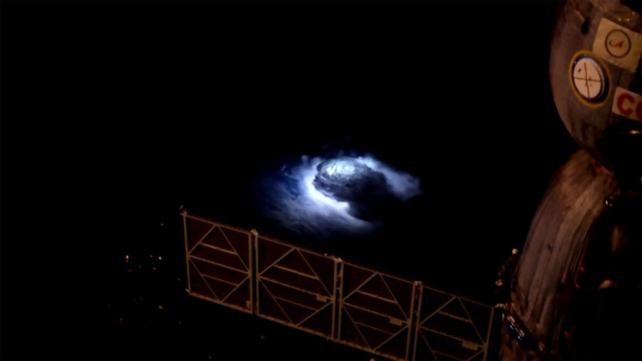A lightning strike is visible in a photo taken from the International Space Station. Credit: NASA
