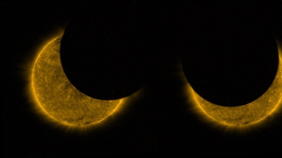 Two images from the European Space Agency's Proba-2 satellite show the moon partially covering the sun during a solar eclipse on Aug. 11. The satellite orbits Earth about 14.5 times per day and flew in and out of the moon's shadow twice during the eclipse.