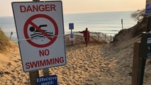 Steve McFadden, 49, of Plattsburgh, N.Y., gazes at Long Nook Beach in Truro, Mass., on Thursday, Aug. 16, 2018. Authorities closed the Cape Cod beach to swimmers after a man was attacked by a shark on Wednesday — the first attack on a person in Massachusetts since 2012. The unidentified victim survived the attack and was airlifted to a Boston hospital. (AP Photo/William J. Kole)