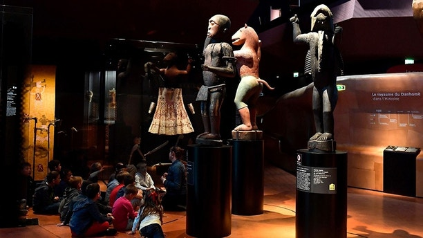 Big royal statues of the Kingdom of Dahomey dating back to 1890-1892 are pictured on June 18, 2018 at the Quai Branly Museum-Jacques Chirac in Paris. - Benin is demanding restitution of its national treasures that had been taken from the former French colony Dahomey (current Benin) to France and currently are on display at Quai Branly, a museum featuring the indigenous art and cultures of Africa. (Photo by GERARD JULIEN / AFP)        (Photo credit should read GERARD JULIEN/AFP/Getty Images)