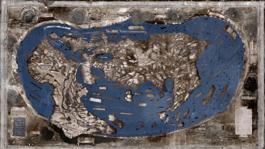 The researchers used multispectral imaging to reveal the images and text on the map. Credit: Image by Lazarus Project / MegaVision / RIT / EMEL, courtesy of the Beinecke Rare Book and Manuscript Library