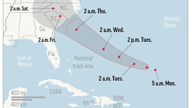 Map shows probable path of Hurricane Florence.; 1c x 3 inches 46.5 mm x 76