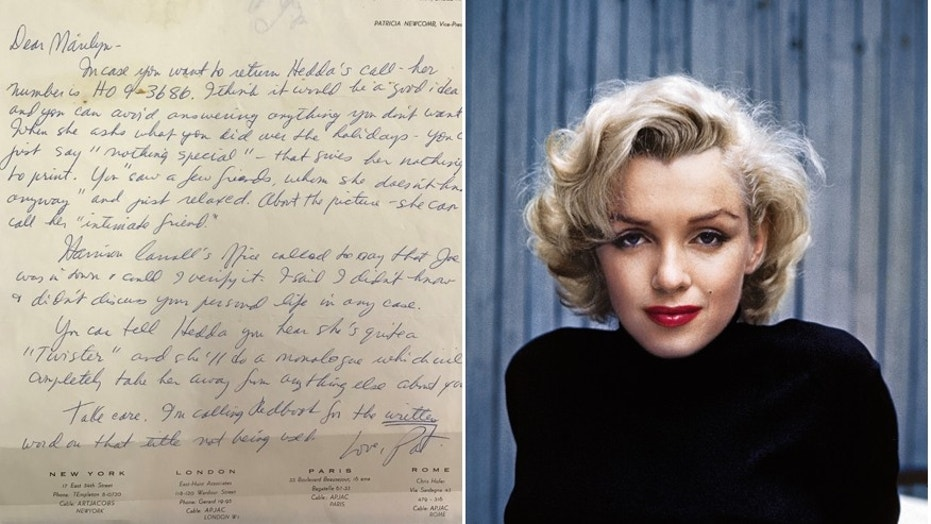 The letter from Monroe's personal secretary and press agent Pat Newcomb/Portrait of the actress as she poses on the patio outside of her home, Hollywood, California, May 1953. (Henry Aldridge & Son/Alfred Eisenstaedt/Time & Life Pictures/Getty Images)