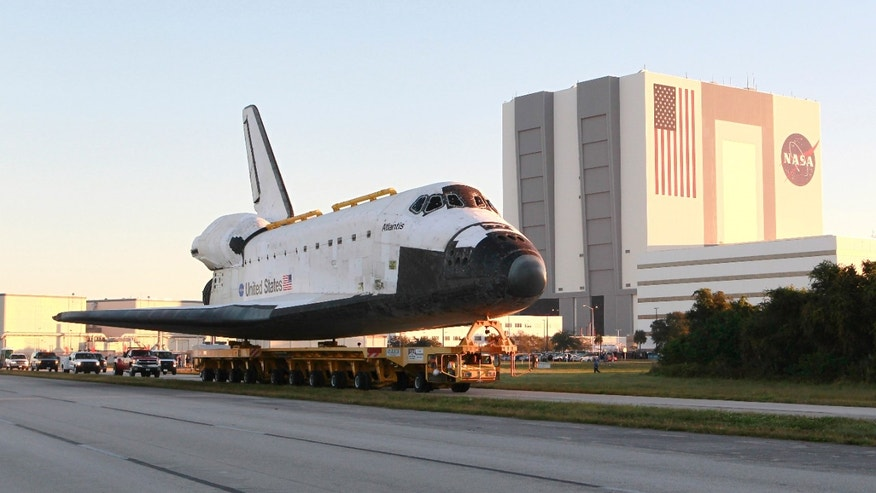 Nov. 2, 2012: Space shuttle Atlantis make its way from the Vehicle Assembly Building to the Visitor Complex at the Kennedy Space Center in Cape Canaveral, Fla.