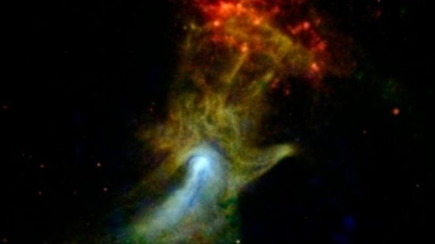 The hand might look like an X-ray from the doctor's office, but it is actually a cloud of material ejected from a star that exploded. NASA's NuSTAR spacecraft has imaged the structure in high-energy X-rays for the first time, shown in blue. Click here for more.