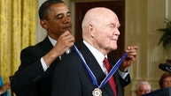 U.S. President Barack Obama awards a 2012 Presidential Medal of Freedom to astronaut and former U.S. Senator John Glenn during a ceremony in the East Room of the White House in Washington, May 29, 2012.  REUTERS/Jason Reed (UNITED STATES  - Tags: POLITICS SOCIETY PROFILE) - RTR32T2K