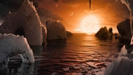 An artist's depiction shows the possible surface of TRAPPIST-1f, on one of seven newly discovered planets in the TRAPPIST-1 system that scientists using the Spitzer Space Telescope and ground based telescopes have discovered according to NASA, in this illustration released February 22, 2017.  Courtesy NASA/JPL-Caltech/Handout via REUTERS   ATTENTION EDITORS - THIS IMAGE WAS PROVIDED BY A THIRD PARTY. EDITORIAL USE ONLY. - RTSZUS7
