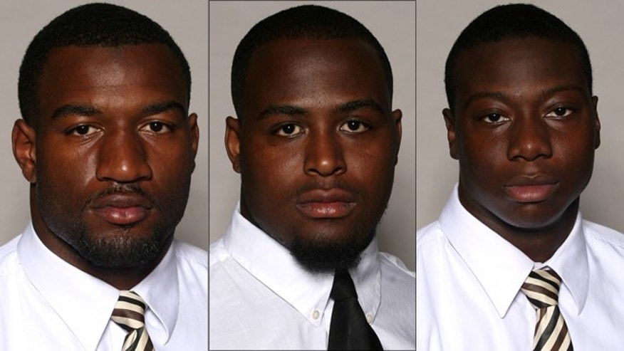 Martez Smith, left, Deddrick Jones, center, and Tim Green were shot during a fight at a Mississippi nightclub.