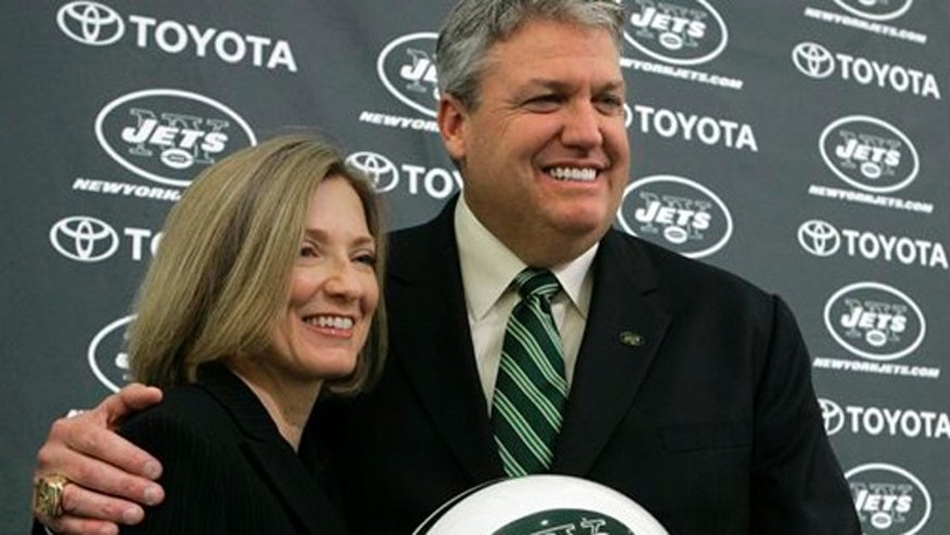 Jan. 21, 2009: Rex Ryan poses with his wife, Michelle, during a news conference to introduce Ryan as the Jets' new head coach.