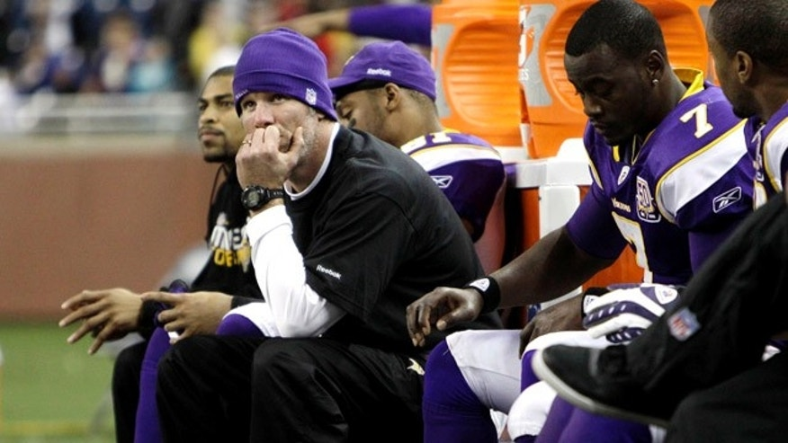 Dec. 13: Minnesota Vikings quarterback Brett Favre watches against the New York Giants in the fourth quarter of their NFL football game at Ford Field in Detroit. (AP)