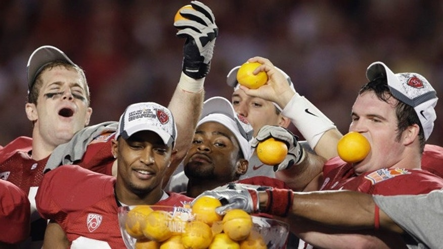 Jan. 3: Stanford players celebrate after their 40-12 victory over Virginia Tech in the Orange Bowl NCAA college football game in Miami.