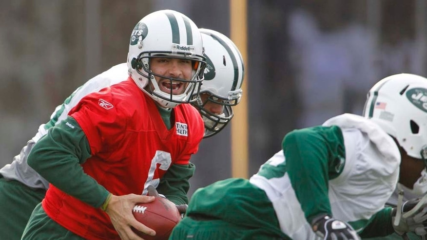 New York Jets quarterback Mark Sanchez runs a drill during NFL Football practice, Tuesday, Jan. 11, 2011 in Florham Park, N.J. The Jets are scheduled to play the New England Patriots in a playoff game on Sunday, Jan. 16. in New England. (AP Photo/Julio Cortez)