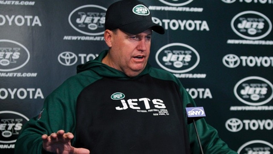 New York Jets coach Rex Ryan faces hefty fine for using profanity at a fan during game against the New England Patriots, Nov. 13, 2011.