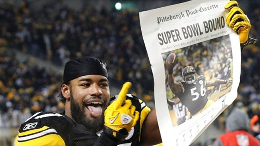 Jan. 23: Pittsburgh Steelers linebacker Keyaron Fox celebrates after a 24-19 win over the New York Jets in the AFC Championship game in Pittsburgh.