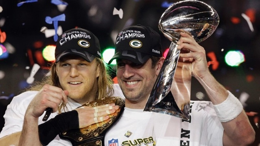 Feb. 6, 2011: Green Bay Packers' Aaron Rodgers, right, and teammate Clay Matthews celebrate after the Packers' 31-25 win over the Pittsburgh Steelers in the NFL Super Bowl XLV football game in Arlington, Texas. Rodgers was named most valuable player of the game.
