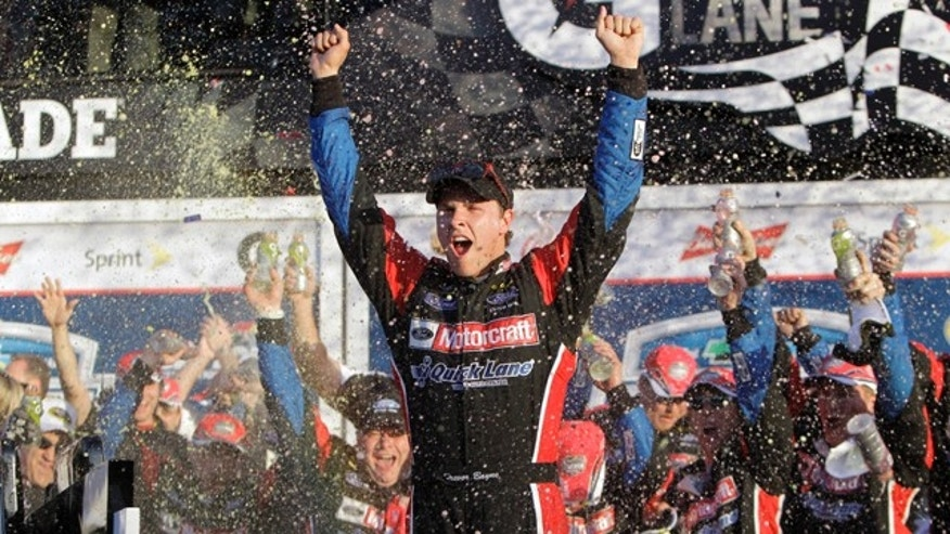 Feb. 20: Trevor Bayne celebrates in victory lane after winning the Daytona 500 NASCAR auto race at Daytona International Speedway in Daytona Beach, Fla.