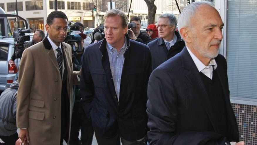 March 4: NFL outside labor counsel Bob Batterman, right, followed by Paul Hicks, Executive VP/Communications & Government Affairs, and NFL commissioner Roger Goodell arrive for football labor negotiations with the NFL players involving a federal mediator in Washington.
