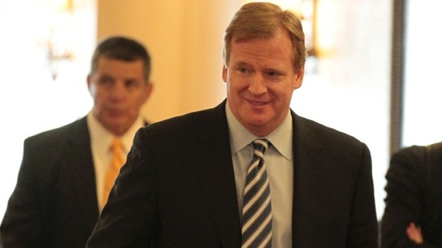 March 2: NFL Commissioner Roger Goodell arrives at a hotel in Chantilly, Va.