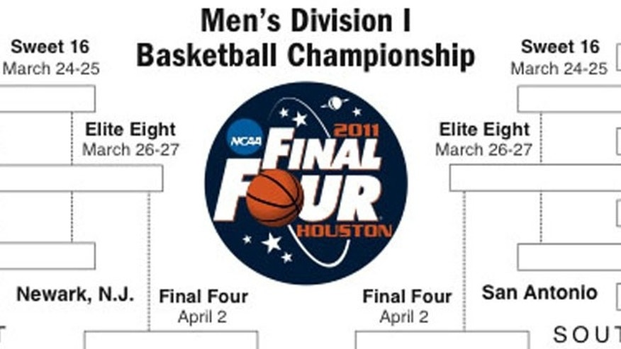 A portion of the 2011 NCAA Men's Division I Basketball Championship bracket is shown. This year's format is different from past years' packed with 68 teams, four of which play in a first round to procure a slot.