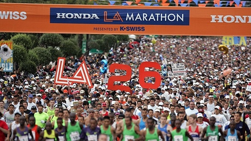 March 20: Runners start the Honda LA Marathon in Los Angeles.