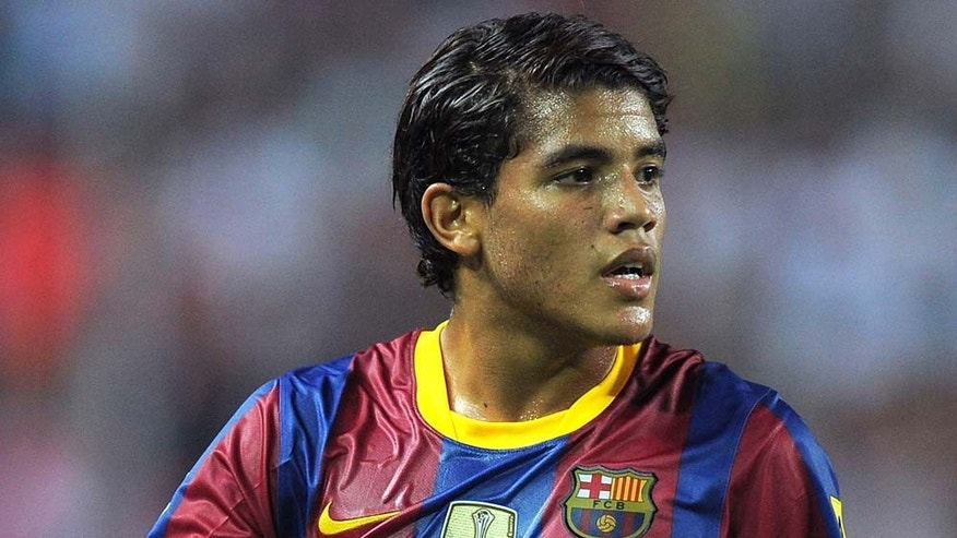SEVILLE, SPAIN - AUGUST 14: Jonathan Dos Santos of Barcelona during the Supercopa, first leg, match between Sevilla and Barcelona at the Sanchez Pizjuan stadium  on August 14, 2010 in Seville, Spain.  (Photo by Denis Doyle/Getty Images)