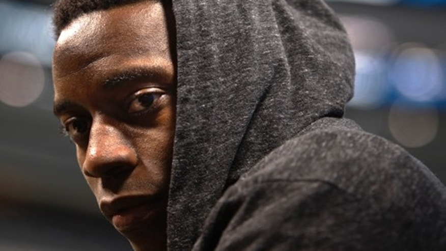 Feb. 1, 2011: Pittsburgh Steelers'  Rashard Mendenhall wearing a sweatshirt as he answers questions during media day for Super Bowl XLV, in Arlington, Texas.