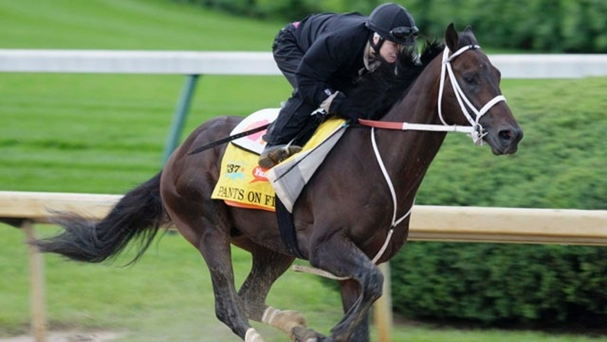 May 1: Kentucky Derby hopeful Pants On Fire, ridden by jockey Rosie Napravnik, is exercised on the Churchill Downs track in Louisville, Ky.