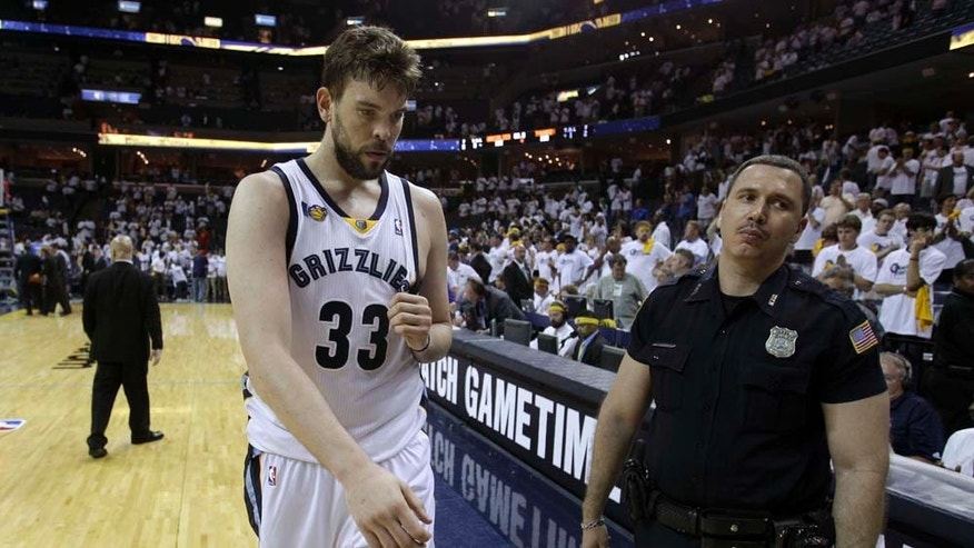 Memphis Grizzlies center Marc Gasol, of Spain, leaves the court following the Grizzlies' loss to the Oklahoma City Thunder in Game 4 of a second-round NBA basketball playoff series on Tuesday, May 10, 2011, in Memphis, Tenn. Oklahoma City won 133-123 in triple overtime. (AP Photo/Wade Payne)